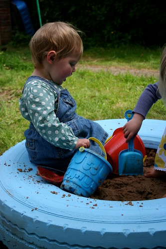 Tractor tyre sandpit