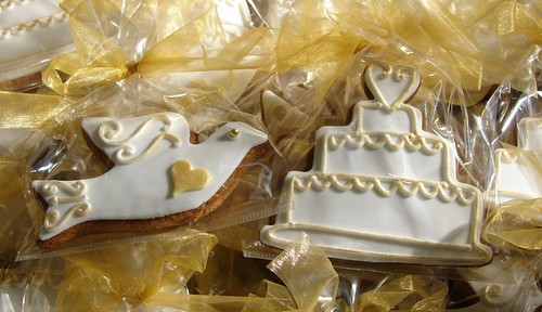 Gold and white dove and wedding cake biscuits for a 50th Wedding Anniversary
