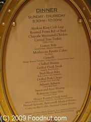 The Buffet Wynn Las Vegas Menu