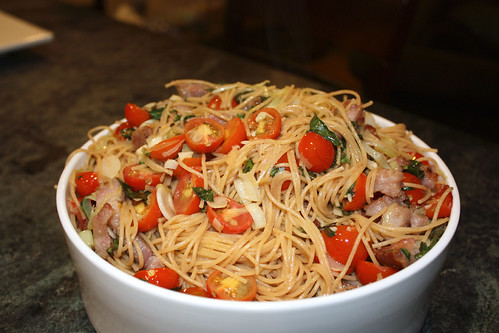 Guanciale Pasta with Baby Tomatoes