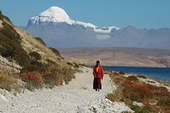 Tibetan monk walking along Manasarovar (Saumil U. Shah) Tags: world wallpaper portrait people mountain lake mountains nature trekking trek religious peace god postcard religion tranquility monk buddhism tibet divine blessing holy journey harmony getty spirituality spiritual kailash yatra pilgrimage tranquil himalayas blessed desktopwallpaper shah manasarovar trekker kailas  saumil kmy bluelist  worldtrekker  kmyatra saumilshah