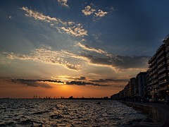Wavy and Cloudy... (dranidis) Tags: blue sunset red sea sky orange white clouds port golden waves waterfront gray olympus greece thessaloniki 43 dimitris salonica thessalonika thermaikos saloniki salonika fourthirds thessalonica  explored  e520  olympuse520 dranidis dimitrisdranidis