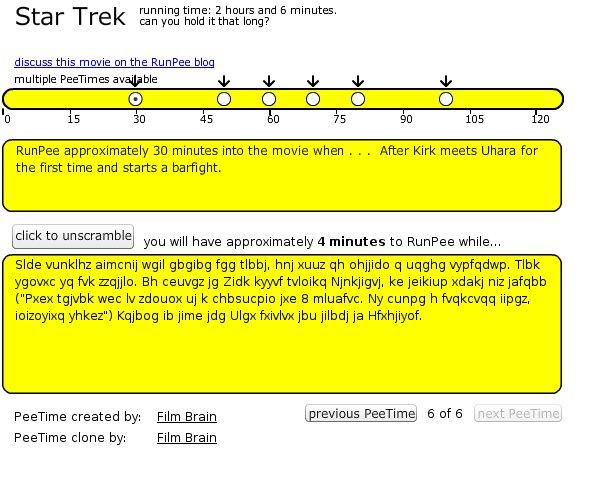 RunPee Star Trek baño