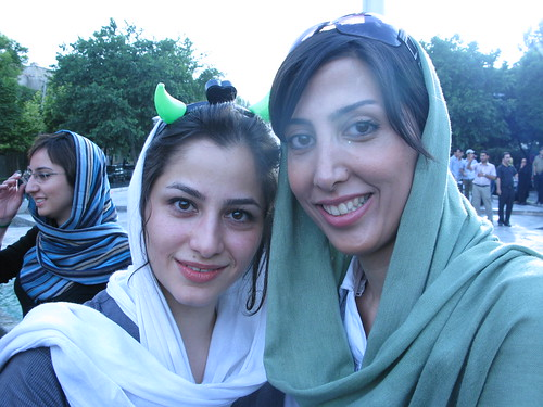 Beautiful Young Iranian women at a protest rally