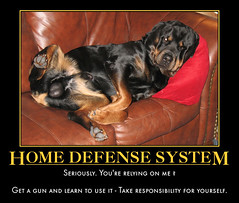 Save Yourself (reluctant_paladin) Tags: dog gun guns selfdefense protection demotivator rottweiller rkba 2ndamendment