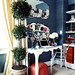 Blue + white office: French mirrors + white desk + Stark Louis Ghost chair