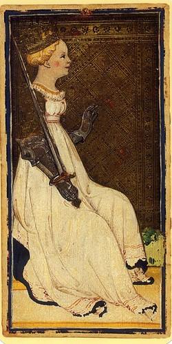 009- Reina de Espadas- Tarot Vinconti-Sforza
