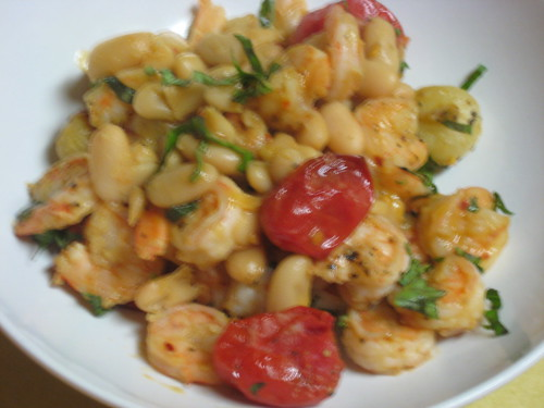 Hot People Garlic Shrimp with White Beans and Roasted Tomatoes