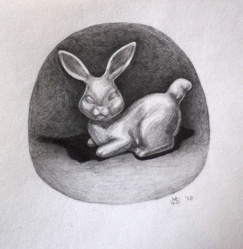 Graphite Ceramic Bunny Drawing