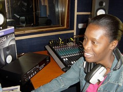 Radio producer Mwendalubi in Gama Cuulu studio, Livingstone, Zambia