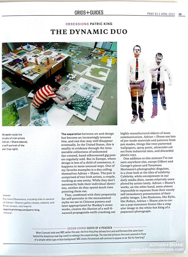 Adrian+Shane in Print magazine