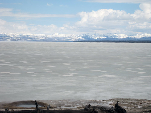 Yellowstone lake frozen, May 22nd 2011. Yellowstone National Park, Wyoming.