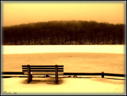 Lonely Bench on Diamond Lake by J.Everhart