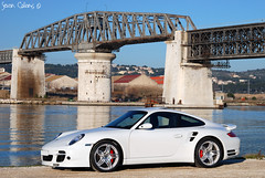 Bridge over troubled water - Porsche 997 Turbo (calians.sevan) Tags: world auto new trip light sunset sea urban white france color art cars love beautiful car wheel sport speed canon wow french fun photography photo amazing nikon focus europe flickr pretty shoot photographer photoshoot flat image photos wheels 911 performance dream automotive spot exotic turbo photograph porsche motor nikkor fabulous rim rims tamron 2008 technique blanc luxury rare 2009 supercar luxe spotting 2007 vitesse artisitic vehicule 997 carspotting martigues sevan d40 flat6 d80 calians