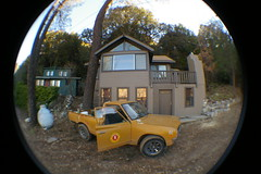 Cabins (Shutter Theory) Tags: fish eye sticker pickup fisheye 1973 datsun butterscotch 620 l20b lakehughes bulletside club16 pl620