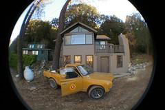 Cabins (Shutter Theory) Tags: fish eye sticker pickup fisheye 1973 datsun butterscotch 620 l20b lakehughes bulletside club16 pl620