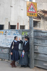 Two Haredi Girls (Copper Kettle) Tags: girls israel busstop roadsign haredi   haredim