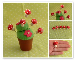5 X Mushrooms sewing pins (polymer clay) (yifatiii) Tags: mushroom mushrooms pc pin sewing felt pins polymerclay fimo fairy sculpey flowerpot accessories pincushion etsy fairies magical gnomes topper tls premo liquidpolymerclay sewingpin