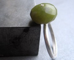 Olive You - Sterling Silver Ring (BeadsInTheBelfry) Tags: metal olive jewelry ring earthy faceted organic olivegreen