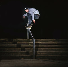 Dave Price - Ollie over Rail (Cherryrig) Tags: 120 6x6 film price dave stairs nikon fuji skateboarding flash rail slide ps ollie bronica gloucester sqa t2 skyport astia 150mm sb26 sb25 qflash 804rc2 l358 190xprob cherryrig