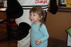 Elizabeth LOVED the Chick-Fil-A cow