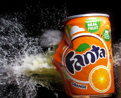 Orange Fizz (Mark Watson (kalimistuk)) Tags: orange wet water make fruit lumix shoot shot drink action flash explosion fast can pop panasonic freeze impact dmc fanta fizzy highspeed strobe fz50 froze 22cal