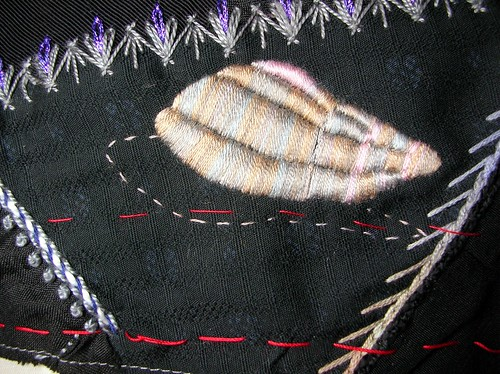 Snail shell in satin stitch