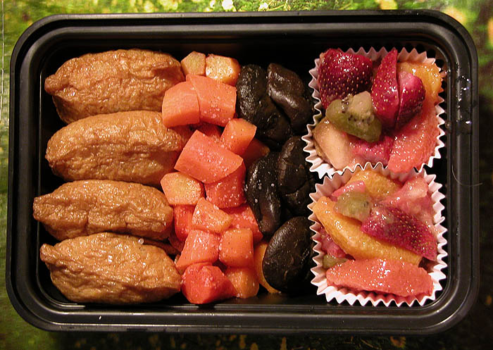 inarizushi, carrots with vanilla salt, simmered shiitake, and fruit salad