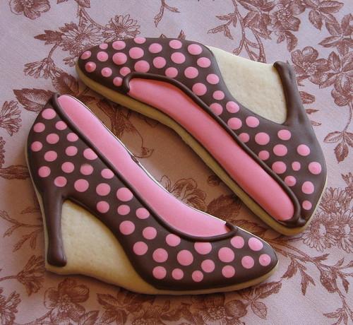 Polkadot Stiletto Shoe Cookies