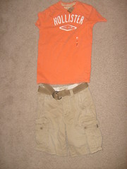 Khaki Shorts and an Orange Tee-Shirt