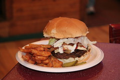 Half # Burger with the Works at Vinnie's Rock Bottom in Jefferson, WI. (Hot Pepper Dave) Tags: rock bottom fries hamburger tavern rockriver vinnies jambayala portalwisconsinorgselected portalwisconsinorg080709 vinniesrockbottom 12cheeseburger