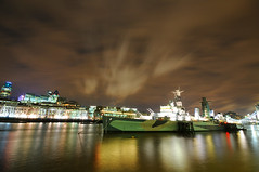 The HMS Belfast (and its ghost!) (5ERG10) Tags: city uk longexposure england sky cold london sergio thames night clouds towerbridge reflections londonbridge river lights nikon ship colours riverside spirit ghost tripod battle southbank creepy hmsbelfast mooring british cruiser butlerswharf moored d300 sigma1020 nohdr amiti 5erg10 sergioamiti