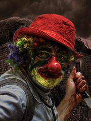 portrait of a clown (Kris Kros) Tags: portrait cooking stain by photoshop photography for photo high scary blood all im dynamic you clown touch knife evil spooky just busy dont be kris busker afraid something range hdr kkg horrific the cs4 photomatix kros kriskros 1xp of ultimateshot peggyhr kktouch kkgallery