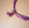 Purple Origami Crane Holding Heart Wand - Hello Kitty Fairy Necklace Purple Origami Crane Holding Heart Wand - Hello Kitty Fairy Necklace