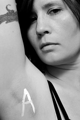 Day 13/365 - A is for armpit (nhanusek) Tags: blackandwhite woman selfportrait me armpit face serious painted bnw lettera nicolehanusek nhanusek 365days