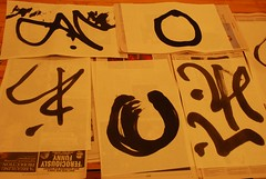 Calligraphy done by workshop participants