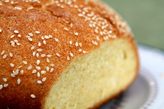 Cornmeal-Sesame Bread (.mariannika.) Tags: food cooking bread ma yum eating breadmachine artisthehandmaidofhumangood 60week eatingonabudget cornmealsesamebread