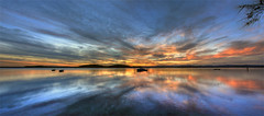 Reflections (ImageBud) Tags: sunset panorama swansea canon newcastle australia newsouthwales hdr lakemacquarie ptgui photomatix 40d blacksmithsbeach camdub