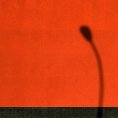 Shady character (daliborlev) Tags: shadow abstract lamp wall streetlamp plaster minimal tiles bent minimalism mundanedetail vividcolours humanfigure althoughitsactuallydesaturated whopaintstheirwalllikethat
