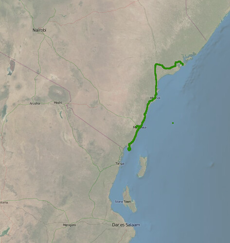 GPS trace of my trip to Kenya in July 2008