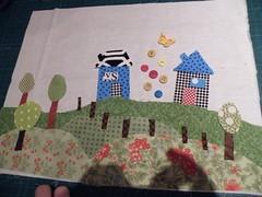progress - the landsscape (monaw2008) Tags: handmade swap applique artquilt dollquilt monaw monaw2008 dqs6