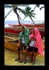 Two Grannies (smallislander) Tags: sea people beach water boat asia southeastasia grandmother philippines union filipina pilipinas mindanao asianpeople generalluna siargaoisland