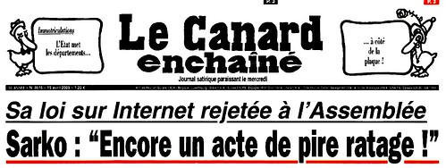 Canard Enchainé du 15/4/2009: la une