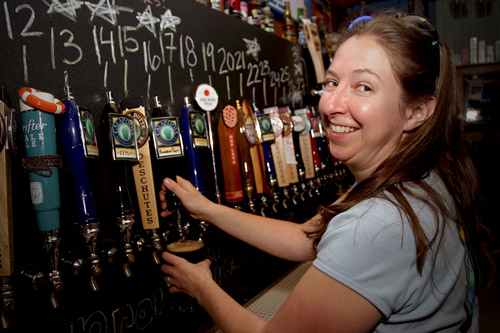 Julie Pouring Oregon's Best Microbrew, Calapooia Brewing!