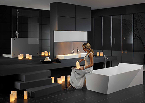 a large jacuzzi tub or optional attribute of ultra modern bathroom but they require more space ceramic tiles are very artistic and beautiful additions to - Ultra Modern Bathroom Designs
