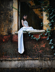 long time ago (TA.D) Tags: red portrait white window girl beautiful face leaves wall nikon dress vietnam tad oldbuilding dongnai d300 chandung aplusphoto platinumheartaward