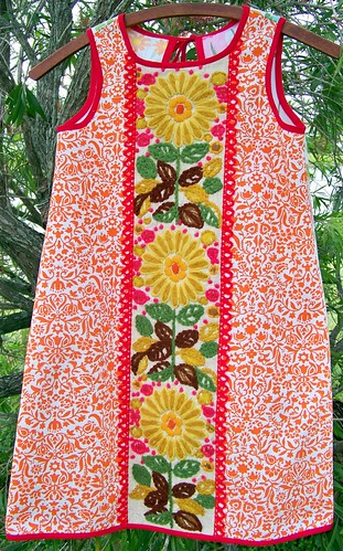 Orange Embroidered Dress by you.