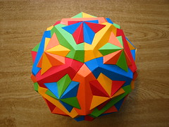 Compound of 5 dodecahedra (fdecomite) Tags: color paper compound geometry math cutting mathematics folding polyhedra glueing polyedre polyhderon fivze
