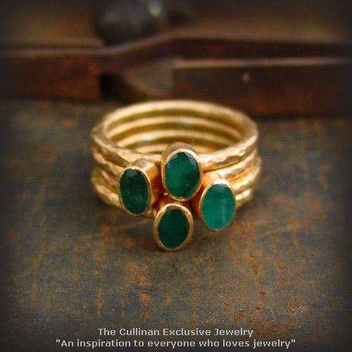 24K Pure Gold Hammered Handmade Emerald Stack Ring Set