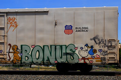 Bonus is Building America (All Seeing) Tags: up graffiti shark al calm gas dna unionpacific gosh calme kuma 357 allseeing uprr armn bkf prb reefers vts hesk kmv buildingamerica tusle